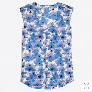J. Crew Cap Sleeve Shirttail Blouse Floral